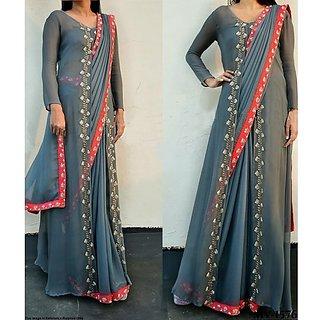 dfb3a5fb42b31b 57%off Buy Gray Hand Work Silk Saree With Designer Jacket At Indian Velvet
