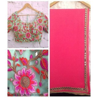 Divine Pink Georgette Saree with Fancy Embroidery Work un-stitched blouse