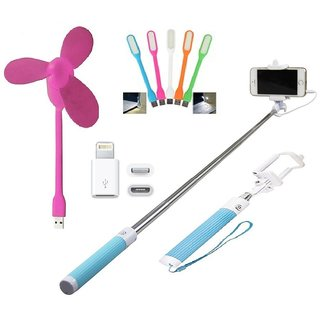KSJ (S01) Combo of BW Selfie Stick, USB Fan, LED Light and Lightening connector 8pin (Assorted Colors)