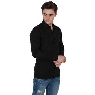 Knight Riders Men's Black formal Poly-Cotton Shirt