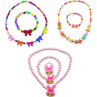 Angel Glitter Cute Little Bunny Birthday Gift For Kids Combo Of 3 Jewelry Set