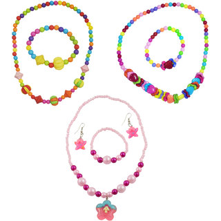 Angel Glitter Sweet Colorful Hearts Birthday Gift For Kids Combo Of 3 Jewelry Set