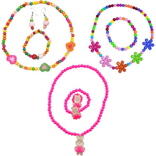 Angel Glitter Dancing Pink Bunny Birthday Gift For Kids Combo Of 3 Jewelry Set
