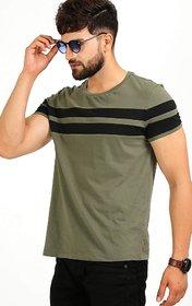 Black Stud Olive Striped Cotton Blend Round Neck T-Shirt For Men NR