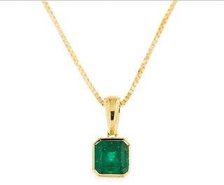 Unheated & Untreated Panna /Emerald gold Plated Pendant With Certified Emerald 5.25 Carat Stone Jaipur Gemstone