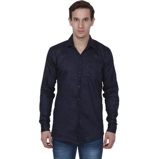 Fashworld Men's Navy Slimfit formal Poly-Cotton Shirt