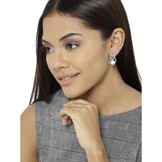 Zaveri Pearls Silver Tone Embellished With Austrian Diamonds & Pearl Stud Earring For Women-ZPFK8342