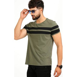 Black Stud Olive Striped Cotton Blend Round Neck T-Shirt For Men NR