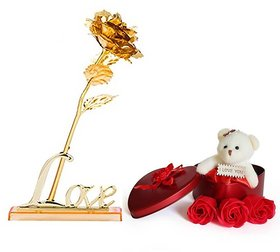 GoodsBazaar 24K Golden Rose with Love Stand Gift Box and Heart Shape Gift Box with Teddy - Best Valentine's Day Gift Birthday Gifts Gold Dipped Rose