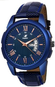 Leather Strap Analog Watch For Men -Espoir Blue Round Dial