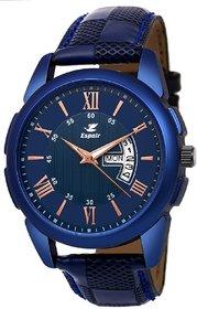 Espoir Men Blue Round Dial Leather Strap Analog Watch