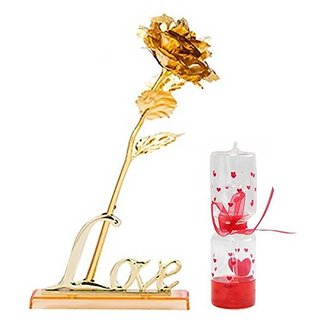 GoodsBazaar 24K Golden Rose with Love Stand Gift Box and Carry Bag and Love Meter - Best Valentine's Day Gift Birthday Gifts Gold Dipped Rose