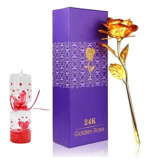 GoodsBazaar 24K Golden Rose with Gift Box and Carry Bag and Love Meter Best Valentine's Day Gift Birthday Gifts Gold Dipped Rose