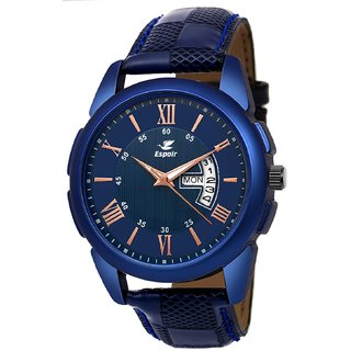 Espoir Blue Round Dial Leather Strap Analog Watch For Men - CheckBlueRay0507