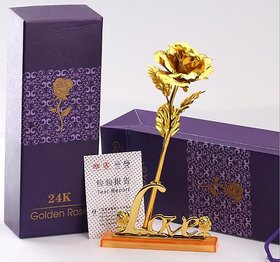 Valentine Day Gift for Love Ones 24K Gold Plated Rose with Love Stand Gift for Rose Day