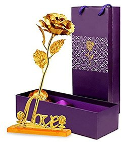 24K Golden Rose 10 Inches with Love Stand - Best Gift For Loves Ones, Valentine'S Day, Mother'S Day, Anniversary, Birthday
