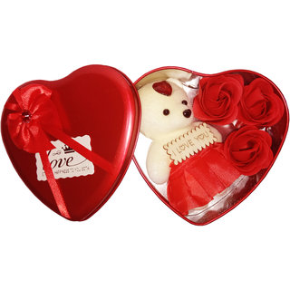 Eastern Club Valentine's Day Teddy and Rose Gift Box Best  Unique Gift for Love Ones (5 inch)