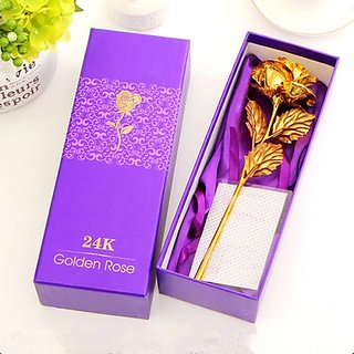 24K Golden Rose 10 Inches With Gift Box - Best Gift For Loves Ones, Valentine'S Day, Mother'S Day, Anniversary, Birthday