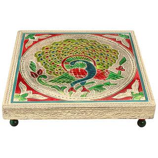 Rajasthani art Meenakari golden pooja Bajot/table/chowki, Ganapati Sinhasan, Gift Article, Laxmi Pujan during Diwali Minamoti Legs