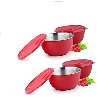 Stainless Steel Micro Wave Safe Color Full Bowl Set of 4 Pcs 17 Cm