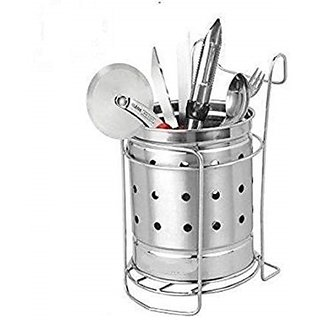 Stainless Steel Silver Spoon Stand/Cutlery Holder Set