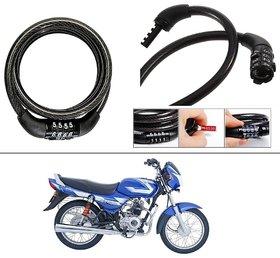 AutoStark 4 Digit Number Lock - Bike Helmet Lock / Steel Cable Lock / Bicycle Cycle Lock For Bajaj CT 100