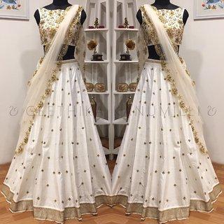 Raw Silk Lehenga Choli In White Colour