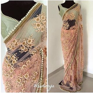 Beautiful Peach Net Embroidered New Designs Saree
