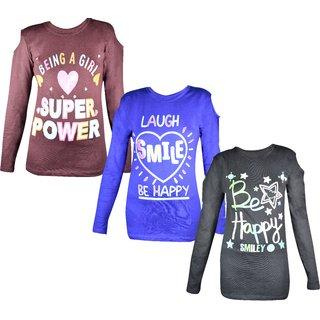 Jisha Fashion Girls Tshirt Printed (Junior) MultiColor Set of 3