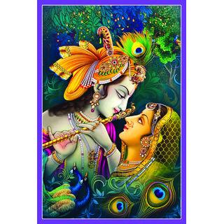 Radha Krishna Beautiful Wallpaper Sticker (12 X 18 Inch) Purple