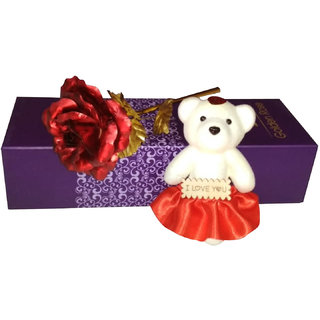Buy 24K Golden/Red Rose with I Love You Teddy Bear , Gift ...