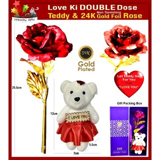 24K Golden/Red Rose with I Love You Teddy Bear , Gift Box and Carry Bag-Best Valentine, Anniversary, Special Day Gift