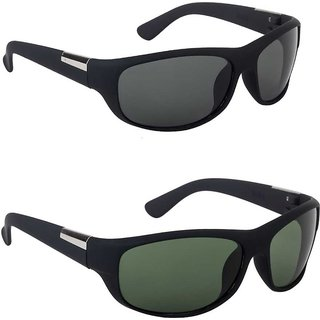 Daxter Combo of 2 Black Wrap-around UV Protection Sunglasses