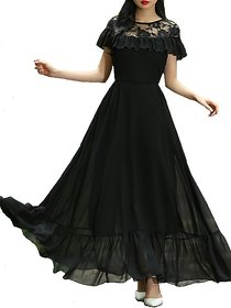 Raabta Black Net Ruffled Neck Long Maxi Dress