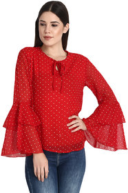 Raabta Red With White Short Dotted Printed Bell Sleeves Top