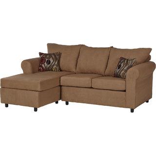 houzzcraft Dewit L shape sofa brown