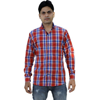 Forever99 Men's Check Slim Shirt Regular Fit Shirts for Mens Full Sleeves Men Branded Check Shirt Men Blend Cotton Chec