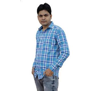 Forever99 Men's Check Slim Shirt Regular Fit Shirts for Mens Full Sleeves Men Branded Check Shirt Men Blend Cotton Chec