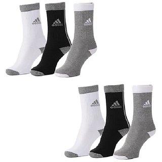 Adidas Mens Crew Length Socks - 6 Pairs