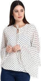 Rosella White with Black Pin dot Print Bell Sleeve Top