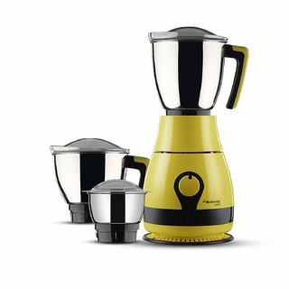 Butterfly Pebble 600-Watt Mixer Grinder with 3 Jars (Yellow)