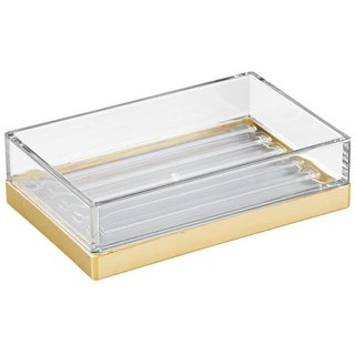 InterDesign Clarity bar Soap Dish for Bathroom Vanities Kitchen Sink - Clear/Brushed Gold (Gold)