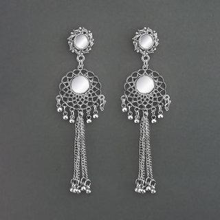 JewelMaze Mirror Oxidised Dangler Earrings - 1315322