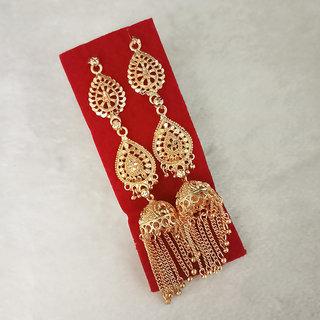 JewelMaze Gold Plated Jhumki Chain Earrings - 1314303