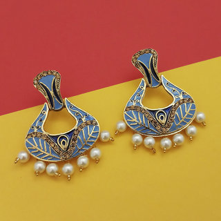 JewelMaze Austrian Stone Blue Meenakari Dangler Earrings - 1314242G