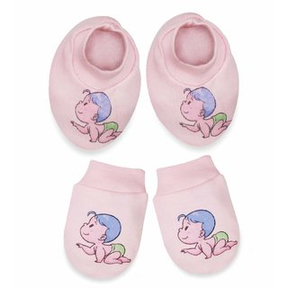 Tumble Mittens  Booties Set Baby Print - Pink