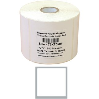 Sevensoft Developers 75X75MM Barcode Label  2X1 INCH   640 Labels  Self adhesive Paper Label  White