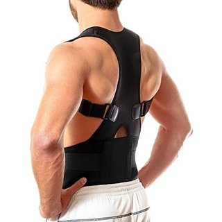 Yuvitraders Real Doctors Plus Posture Support Brace Belt Back Brace Support Belt Back Support (Free Size, Black)