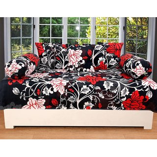 SHAKRIN Polycotton Diwan Set of 8 Pieces (1 Single Bedsheet with 2 Bolsters and 5 Cushion Covers) Red-Black Floral