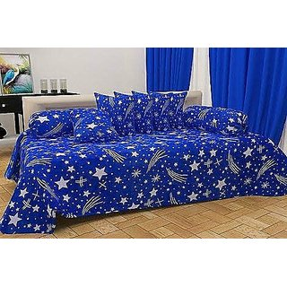 SHAKRIN Diwan Set of 8 Pieces (1 Single Bedsheet with 2 Bolsters Covers and 5 Cushion Covers) Blue Star